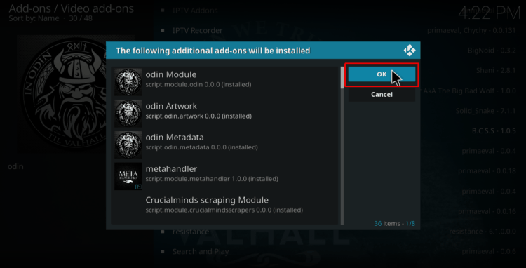 Click Ok to accept additional addons to be installed on Kodi