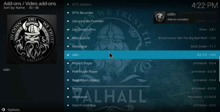 Wait for the successful Odin Addon to install on Kodi