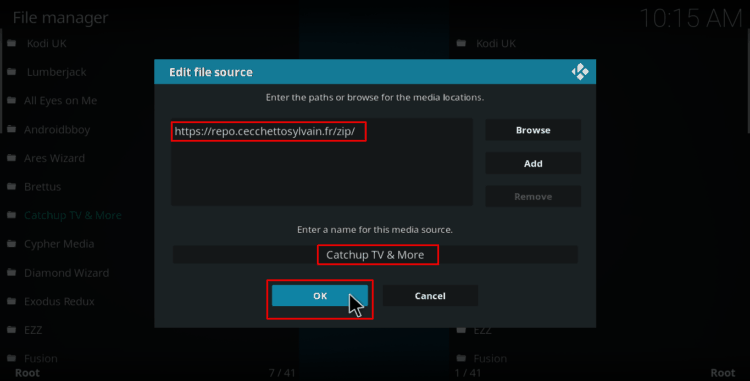 Insert the repo url you intend to install on Kodi