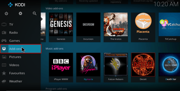 Select addons from the main menu on Kodi