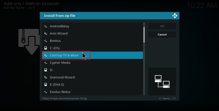 Select catch tv location on Kodi