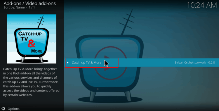 Select video addon on catch-up kodi repository