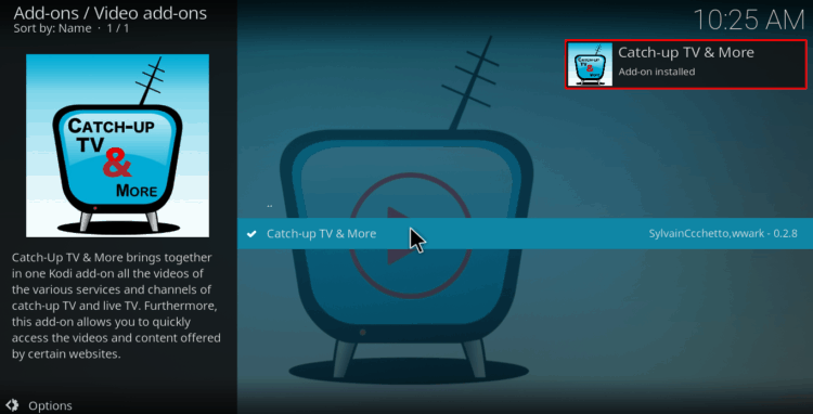 Select catch-up addon to install the addon to watch Japanese TV on Kodi