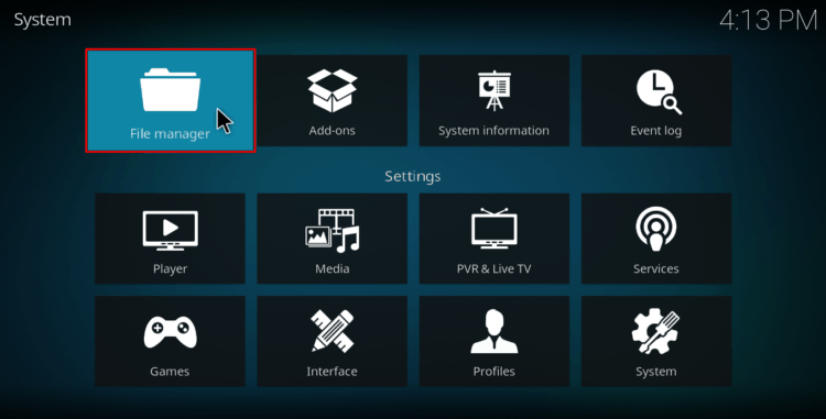 Select File Manager on Kodi