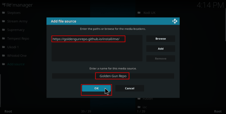 Add the Goldengun url to the source on Kodi
