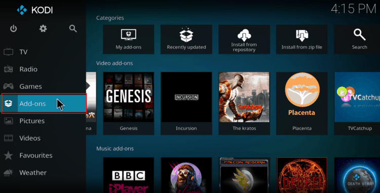 Select add-ons from the main menu at your left on Kodi