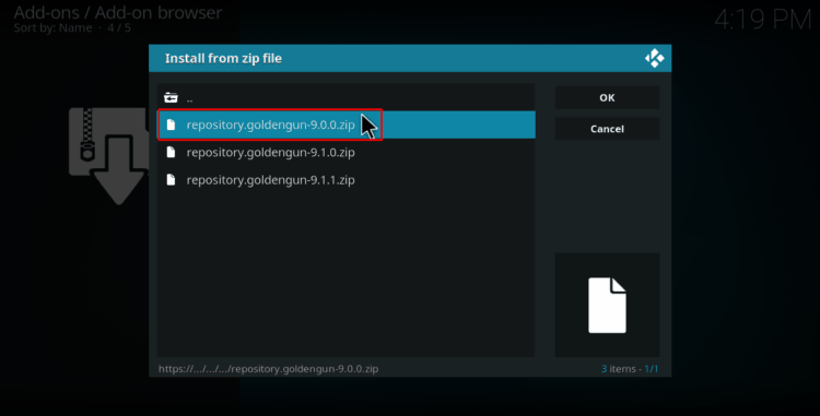 Select the right .zip file of the Golden Gun Repo on Kodi