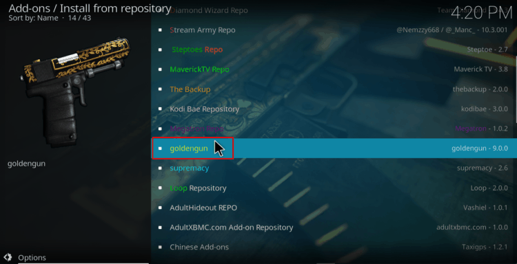 Install from Repository and choose Golden Gun on Kodi