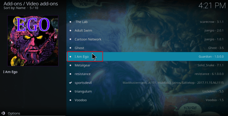 Select I Am Ego from the Golden Gun Repo Addon List on Kodi