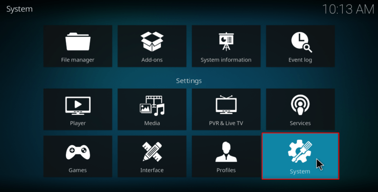 Select System on Kodi