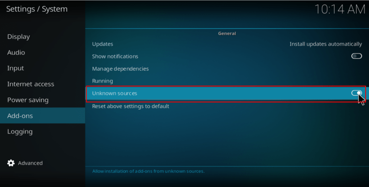 Allow unknown sources on Kodi