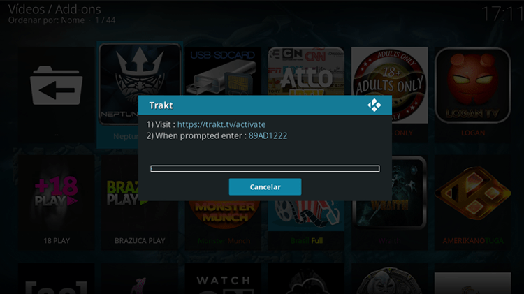 Insert the Kodi addon trakt details on your trakt