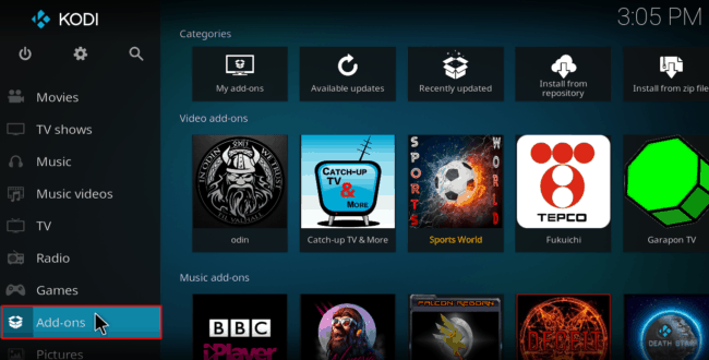 To Install Venom Repository on Kodi, select Add-ons from the main at your left