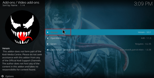 Select video and Venom to proceed with the Install of Venom Kodi Addon
