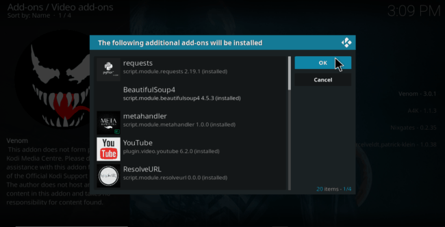 Accept additional Addon to be installed on Kodi if required