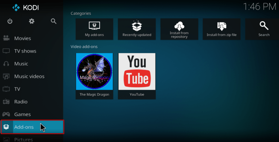 Select addons from the left menu on Kodi