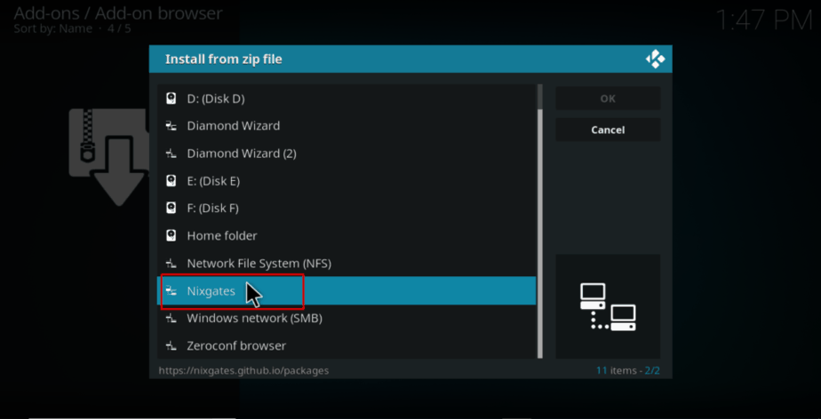 Select nixgates repo to install the repo on Kodi