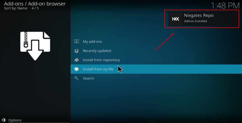 Wait for the Nixgates file successful install notification to appear on Kodi