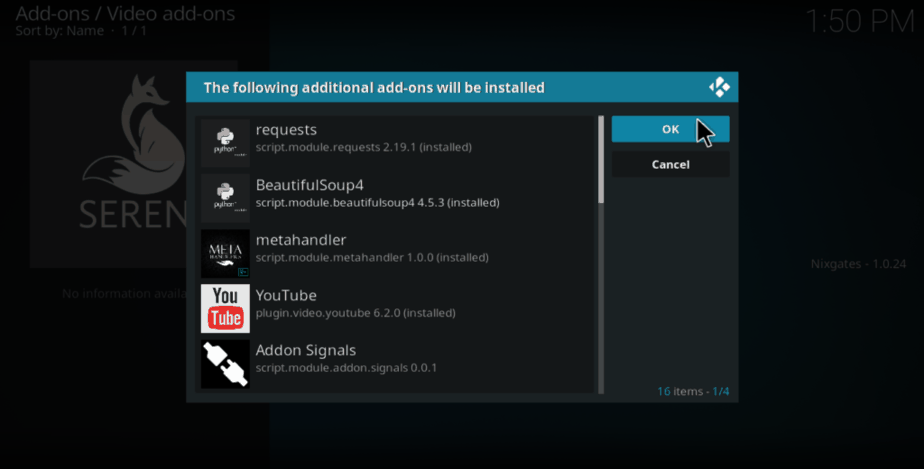 Aditional addon may be required to be installed while installing Seren Kodi Addon