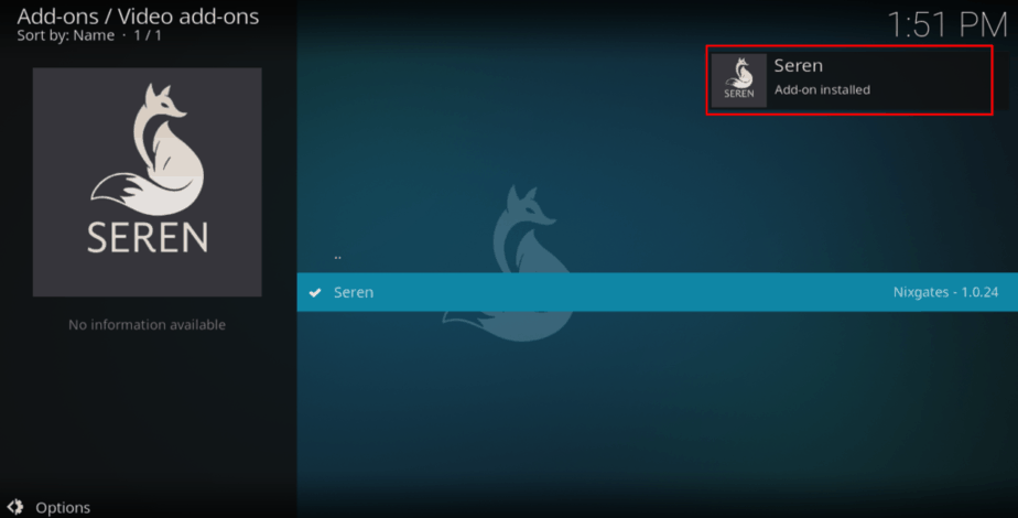 Wait for the Seren Addon successful message on Kodi