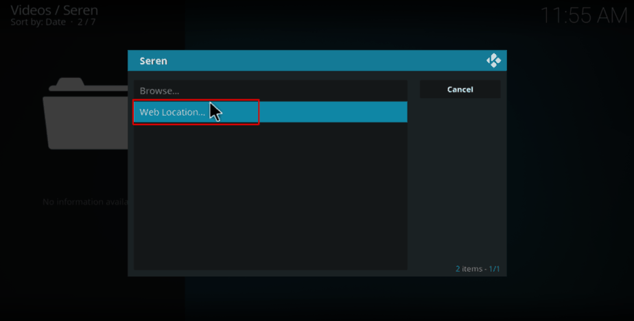 Select web location on Seren Kodi Addon provider tools