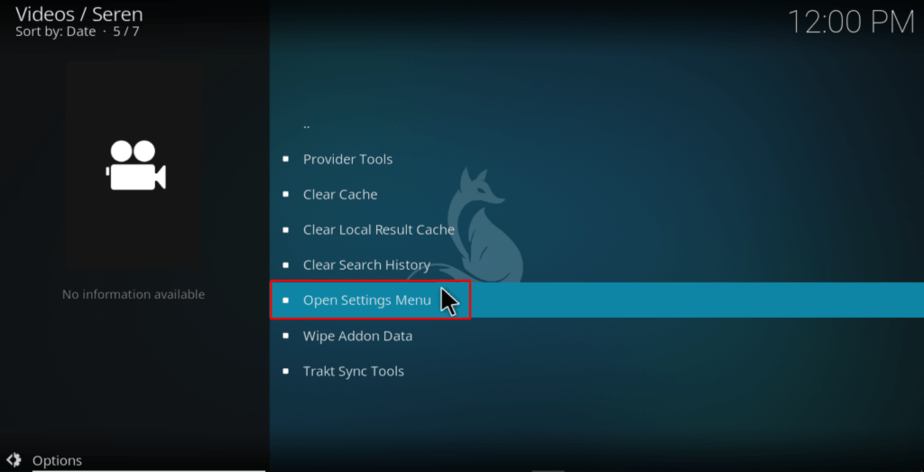 Open Seren Kodi Addon Settings menu