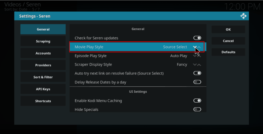 In Seren Kodi Addon Settings, under General, change Movie Play Style to Source