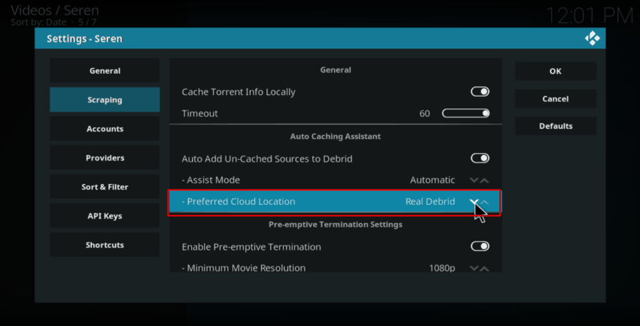 In Seren Kodi Addon, on Settings Under Scraping, change Preferred Cloud Location to the service you are using