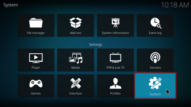 Navigate to System on Kodi