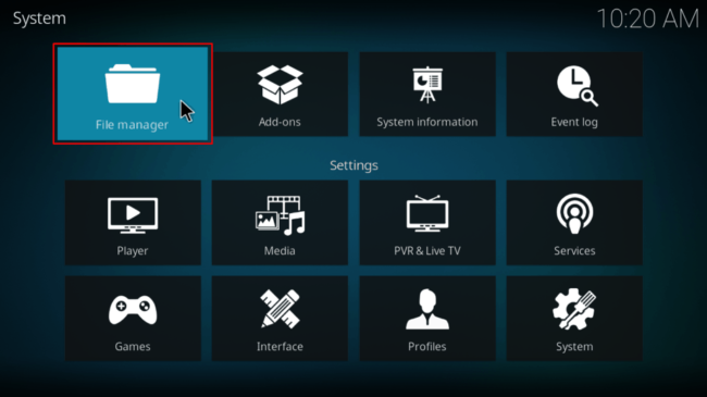 Navigate to File manager on Kodi