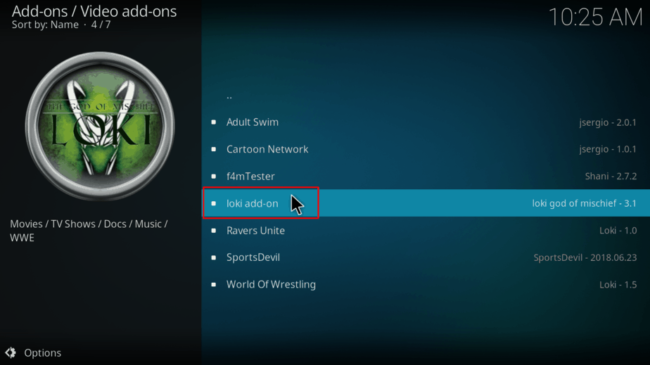 On Video-addons select Loki Kodi Addon to Install