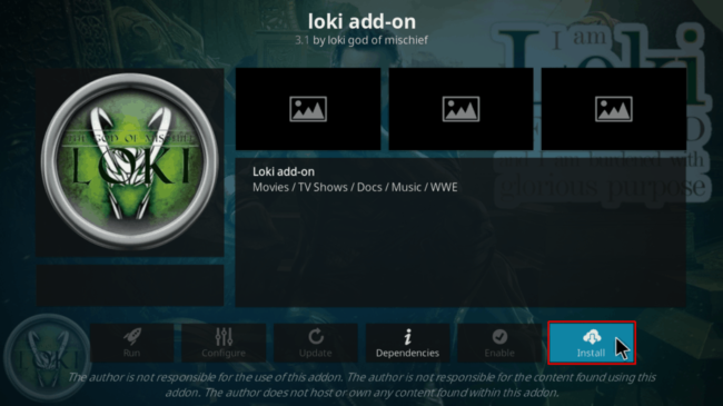 Confirm the Loki Kodi Addon Install