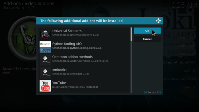 Install further addons if required when installing Loki Kodi Addon