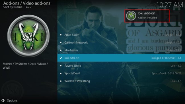 Successful Install message upon Loki Kodi addon installs
