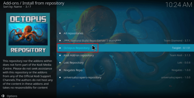Select Octopus Repository to Install Alvin Kodi Addon