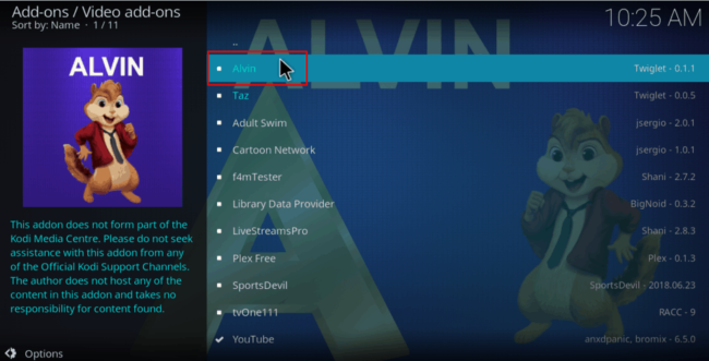 Select Alvin to Install the Kodi Addon