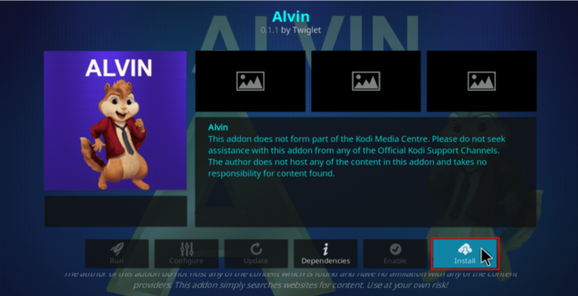 Hit Install to proceed with Alvin Addon Install on Kodi