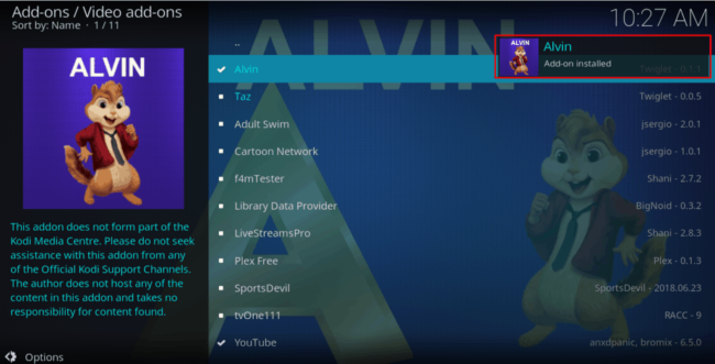 Alvin Addon was installed successfully on Kodi