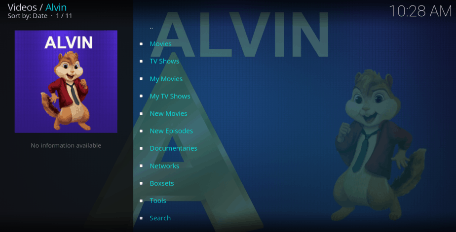 Stream Categories of the Alvin Kodi Addon