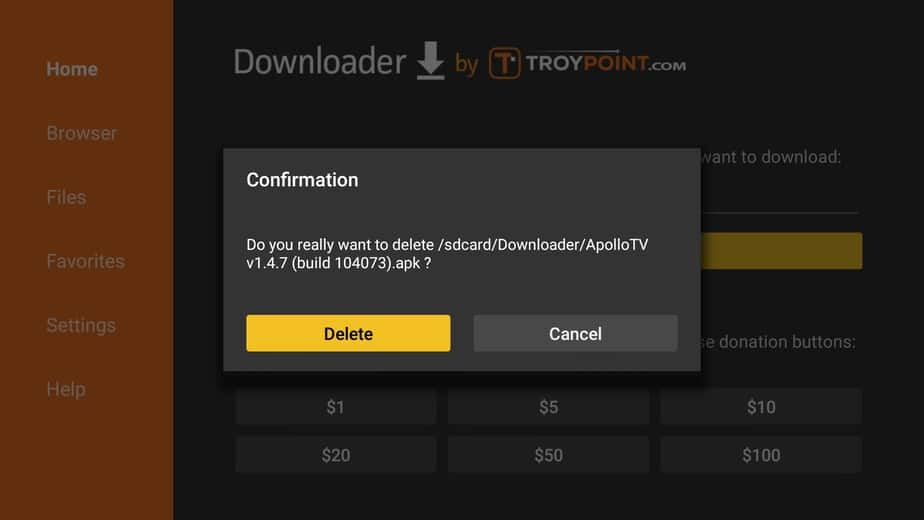 Delete the Apollo TV APK after install on Firestick