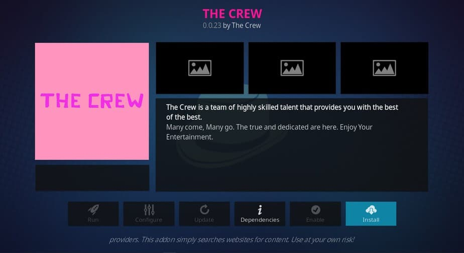 Hit Install to proceed with the The Crew Addon Install process on Kodi
