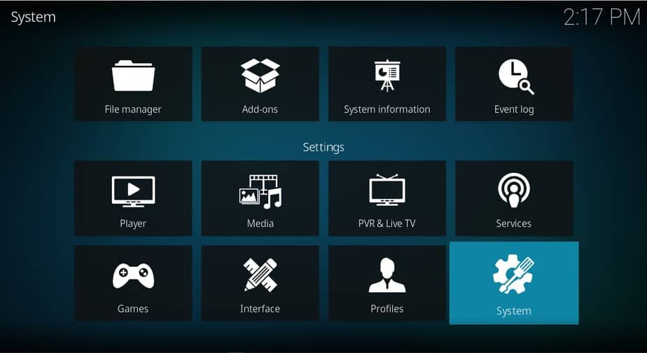Select System to access the Kodi system configurations