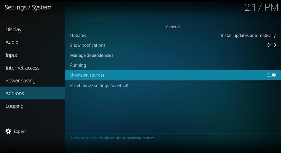 Turn on unknown sources on Kodi settings