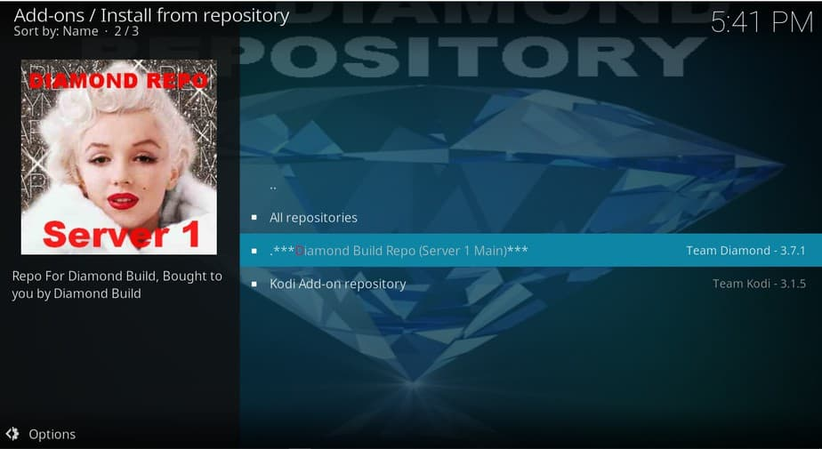 Select the Diamond Build Repo to Install Grease Lightning addon on Kodi