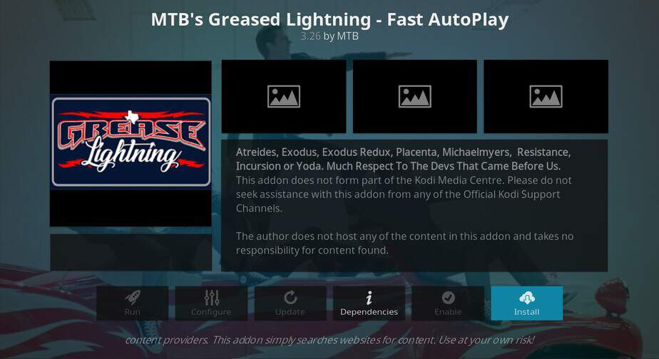Hit Install button to have Grease Lightning Addon installed on Kodi