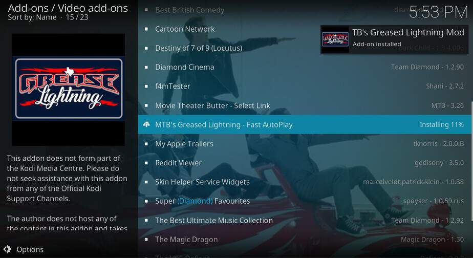 Wait for the message of successful Grease Lightning Install on Kodi