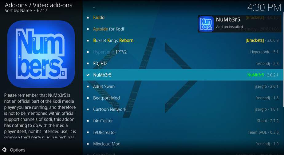 Wait for Numbers Addon successful message on Kodi