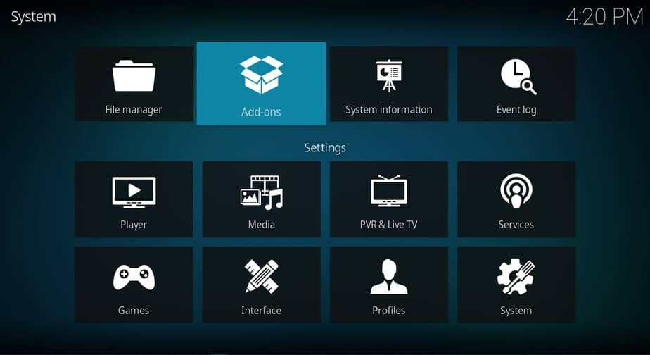 Access to Add-ons browser on Kodi