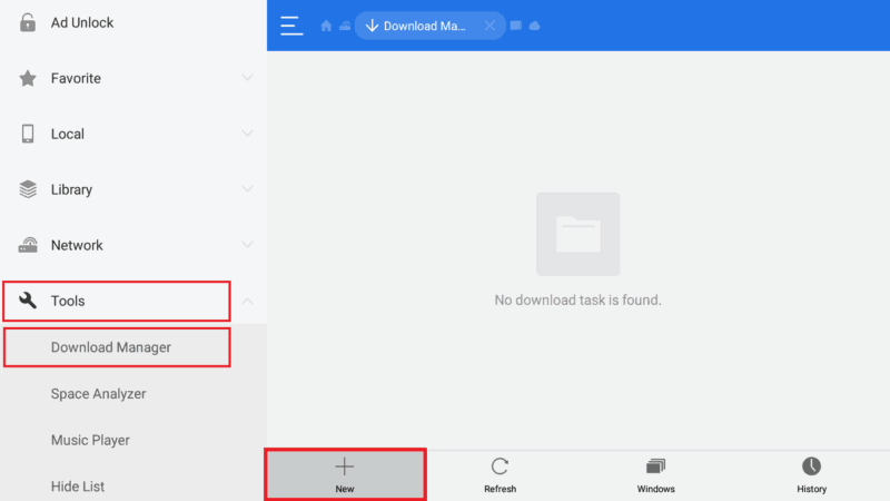 Select Download manager to Install Titanium TV app on Android TV Box