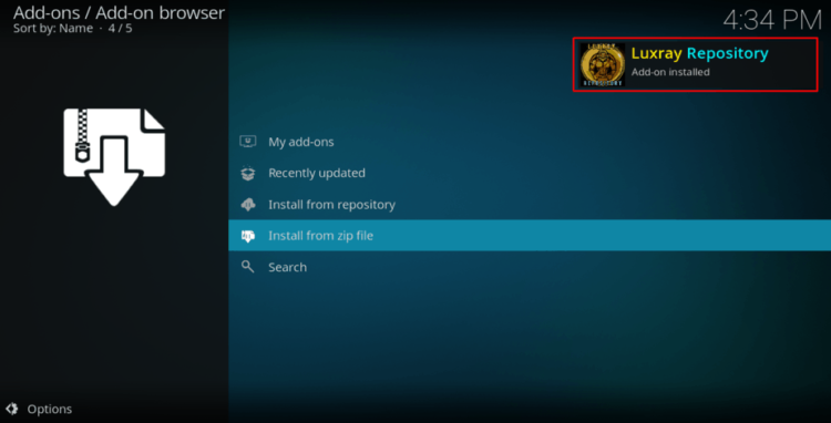 Wait for the Luxray Repository install successful message on Kodi to arise